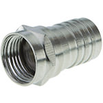 F Connector, RG6, Male, 1/2 Nickel Grip Ring, Double Shield