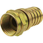 F Connector, RG6, Male, 1/2 Hex Crimp, Brass
