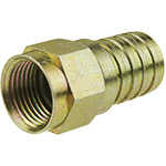 F Connector, RG6, Male, 1/2 Hex Crimp, Brass, Weatherproof