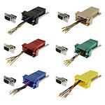 DB9 Adapter, DB9 Female/RJ45, 8P/8C/USOC, Assorted Colors