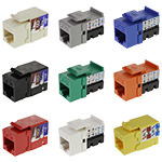Keystone Jack, Cat5e, RJ45/110 90º, 8P/8C/568A-B, Assorted Colors