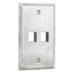 Flush Mount Stainless Steel Keystone Wall Plate - Single Gang - 2 Port