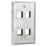 Flush Mount Stainless Steel Keystone Wall Plate - Single Gang - 4 Port