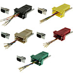 DB9 Adapter, DB9 Male/RJ45, 8P/8C/USOC, Assorted Colors