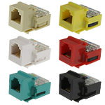 Keystone Jack - Cat3 - RJ12/V-Slot 90º - 6P/6C/USOC - Assorted Colors
