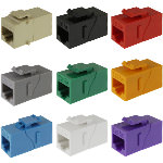 Keystone F-Thru, Cat5e, SLIM RJ45/RJ45, Straight, 8P/8C, Assorted Colors