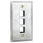 Flush Mount Stainless Steel Keystone Wall Plate - Single Gang - 3 Port
