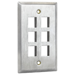 Flush Mount Stainless Steel Keystone Wall Plate - Single Gang - 6 Port