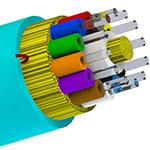 Bulk Fiber MultiMode/12str, OM3, 50/125, OFNP, I/O, DIST, AQUA - Per Foot